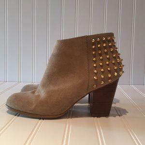 Zara Suede Gold Studded Booties sz 37